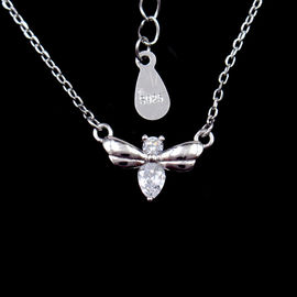Kalung Little Bee Silver Cubic Zirconia Dengan Rhodium / 18K Gold Plating